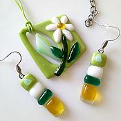 Украшения handmade. Livemaster - original item A set of jewelry made of glass Breath of spring! fusing Glass. Handmade.