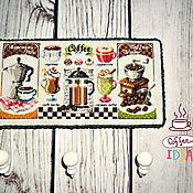 Для дома и интерьера ручной работы. Ярмарка Мастеров - ручная работа Вышитая вешалка-ключница Кофейная. Handmade.
