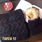 Аксессуары handmade. Livemaster - original item Set of a hat with a pompom and a Snood