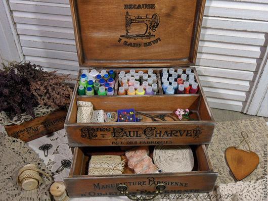 Мини-комоды ручной работы. Ярмарка Мастеров - ручная работа. Купить Комод-шкатулка для рукоделия из серии Винтажный монохром. Handmade.