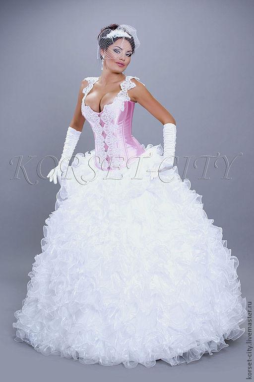 Корсеты ручной работы. Ярмарка Мастеров - ручная работа. Купить Корсет «Скарлетт» (утягивающий) свадебный с белым кружевом. Handmade. Розовый