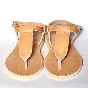 """Обувь ручной работы. Ярмарка Мастеров - ручная работа Кожаные сандалии с широким """"Т"""". Handmade."""