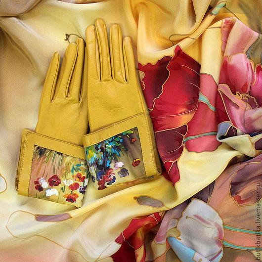 Комплекты аксессуаров ручной работы. Ярмарка Мастеров - ручная работа. Купить Комплект кожаные перчатки и платок Маки. Handmade. Коричневый