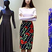 Одежда ручной работы. Ярмарка Мастеров - ручная работа Юбка карандаш . Черная юбка из жаккарда. Офисный стиль. Handmade.