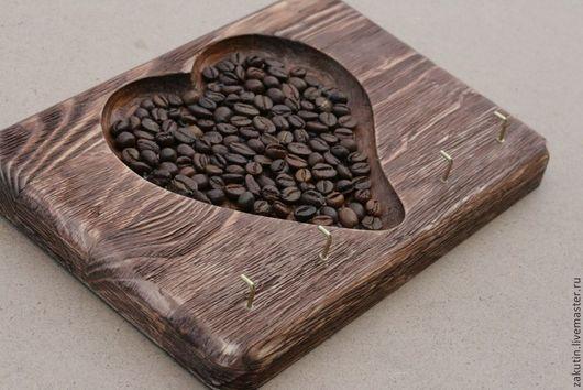 Прихожая ручной работы. Ярмарка Мастеров - ручная работа. Купить Ключница деревянная с кофе, в ассортименте.. Handmade. Ключница, состаренное дерево