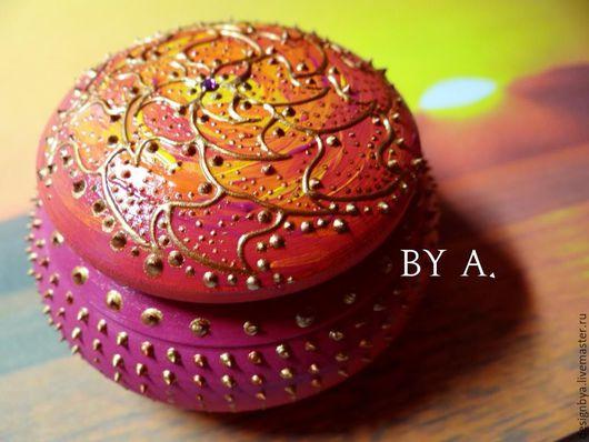 Шкатулки ручной работы. Ярмарка Мастеров - ручная работа. Купить Круглая розовая шкатулка для украшений шкатулка для мелочей. Handmade.