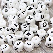 Бусины ручной работы. Ярмарка Мастеров - ручная работа Силиконовые бусины кубики с буквами. Handmade.