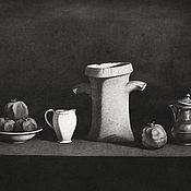 Картины и панно handmade. Livemaster - original item Still life with grenades and a piece of amphora. 75h100 cm. graphics. Handmade.