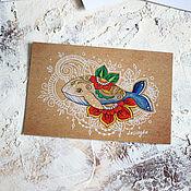 Открытки ручной работы. Ярмарка Мастеров - ручная работа Почтовая открытка - цветочный кит. Handmade.