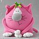 Игрушки животные, ручной работы. Ярмарка Мастеров - ручная работа. Купить Розовая кошка Жозефина - мягкая игрушка из флиса. Handmade.