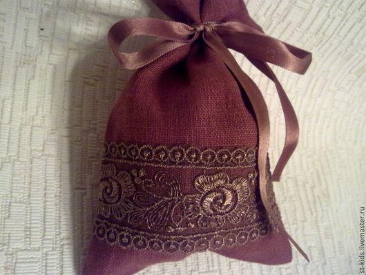 Льняная упаковка для изысканного подарка терракотового цвета. Красиво украсит содержимое подарка . Стильная вещичка для Вас.