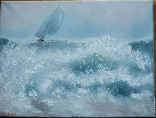 Пейзаж ручной работы. Ярмарка Мастеров - ручная работа. Купить Схватка. Handmade. Голубой, морская волна, стихия Воды, картина