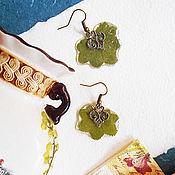 Украшения ручной работы. Ярмарка Мастеров - ручная работа Серьги с настоящими листьями манжетки. Handmade.