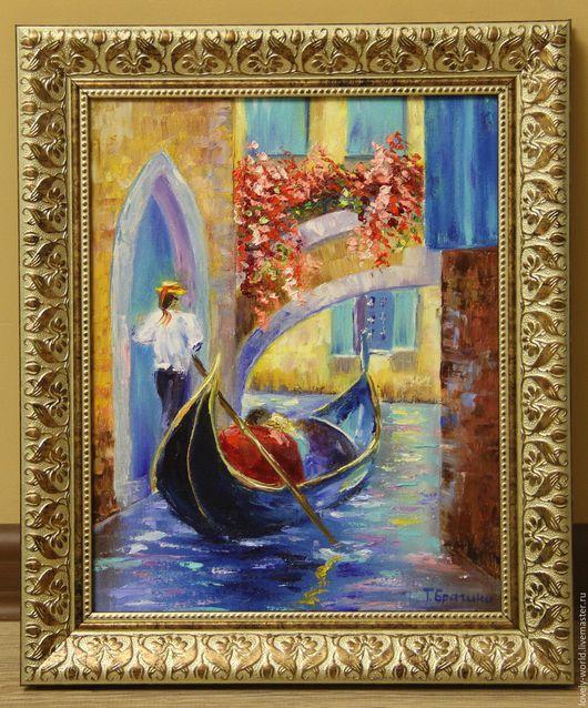 """Город ручной работы. Ярмарка Мастеров - ручная работа. Купить Картина маслом  """"Прогулка по Венеции"""". Handmade. Комбинированный, влюбленные, подарок"""