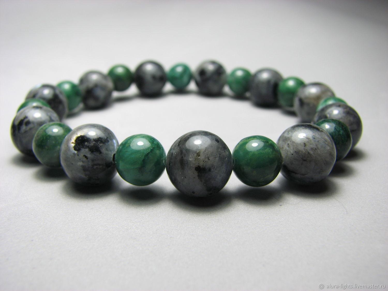 Bracelet larvikite and verdit 'On the track', Bead bracelet, Moscow,  Фото №1