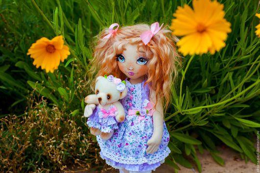 Коллекционные куклы ручной работы. Ярмарка Мастеров - ручная работа. Купить Авторская текстильная  кукла. Handmade. Сиреневый, козий тресс