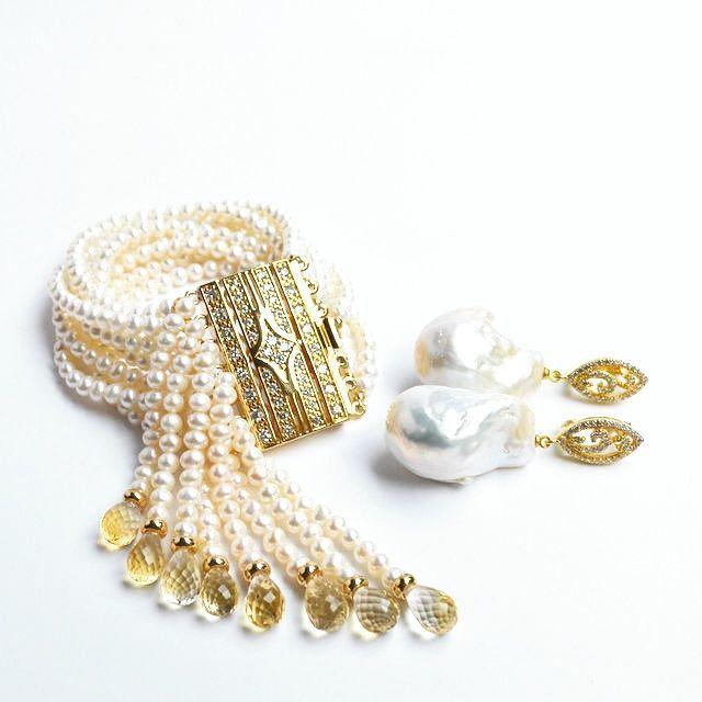 Bracelet White pearl Golden Citrine IIVORI Author's work, Bead bracelet, Moscow,  Фото №1