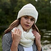 handmade. Livemaster - original item Hat made of mohair with two cuffs. Handmade.