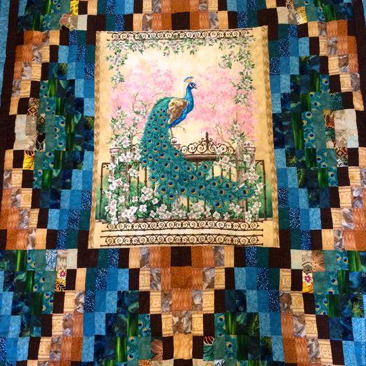Текстиль, ковры ручной работы. Ярмарка Мастеров - ручная работа. Купить Лоскутный плед Изумрудный павлин. Handmade. Дом, изумрудный