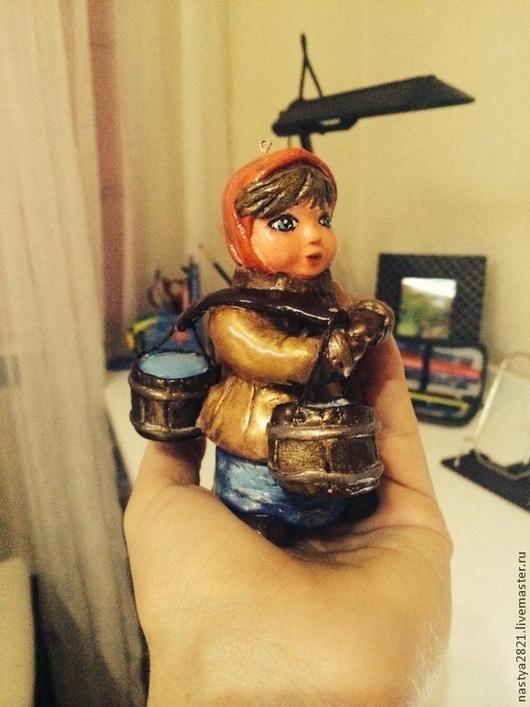 Народные куклы ручной работы. Ярмарка Мастеров - ручная работа. Купить Девушка с коромыслом. Ёлочная игрушка. Handmade. Коричневый, коромысло
