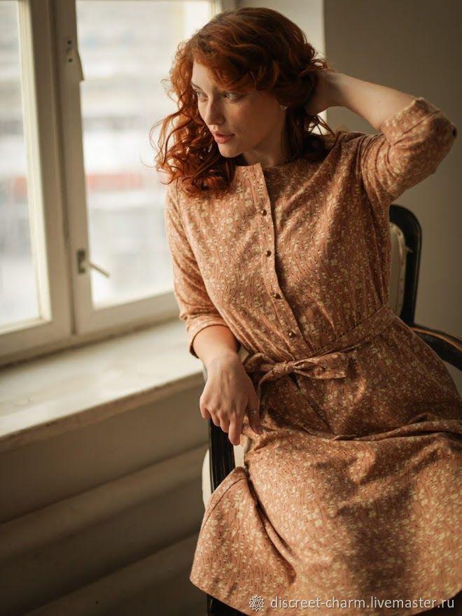 Розовое платье из теплого хлопка, в цветочек, на пуговицах, нарядное, Платья, Томск,  Фото №1