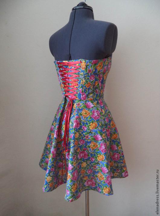 Платья ручной работы. Ярмарка Мастеров - ручная работа. Купить Платье на шнуровке Радость. Handmade. Разноцветный, летнее платье, хлопок