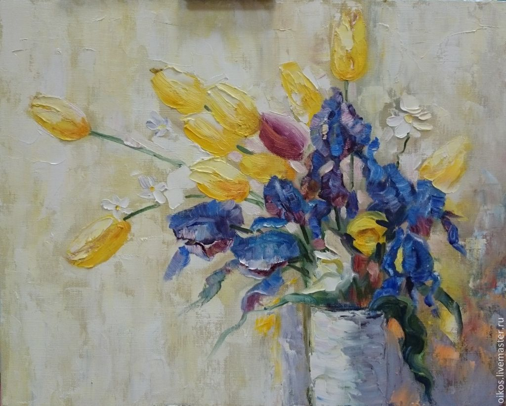 Oil painting bouquet of flowers - irises, tulips, daisies (buy), Pictures, St. Petersburg,  Фото №1