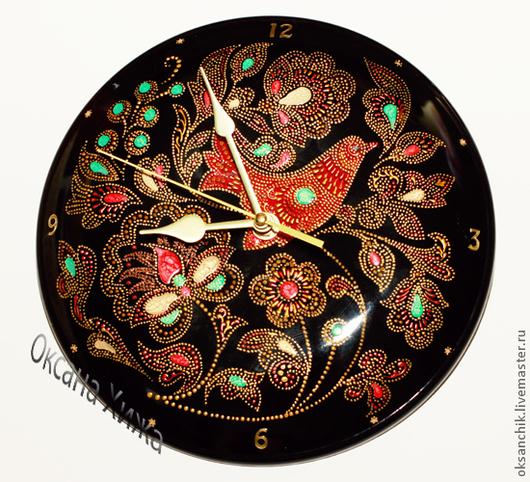 """Часы для дома ручной работы. Ярмарка Мастеров - ручная работа. Купить Часы """"Райский сад"""". Handmade. Черный, интересный подарок"""