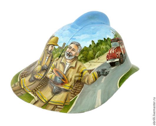 Расписной шлем пожарного. Единственный экземпляр.