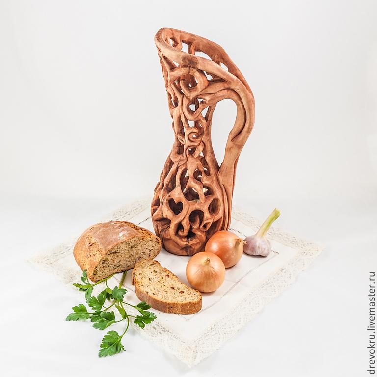 """Кувшин деревянный """"Кружевной лебедь"""""""