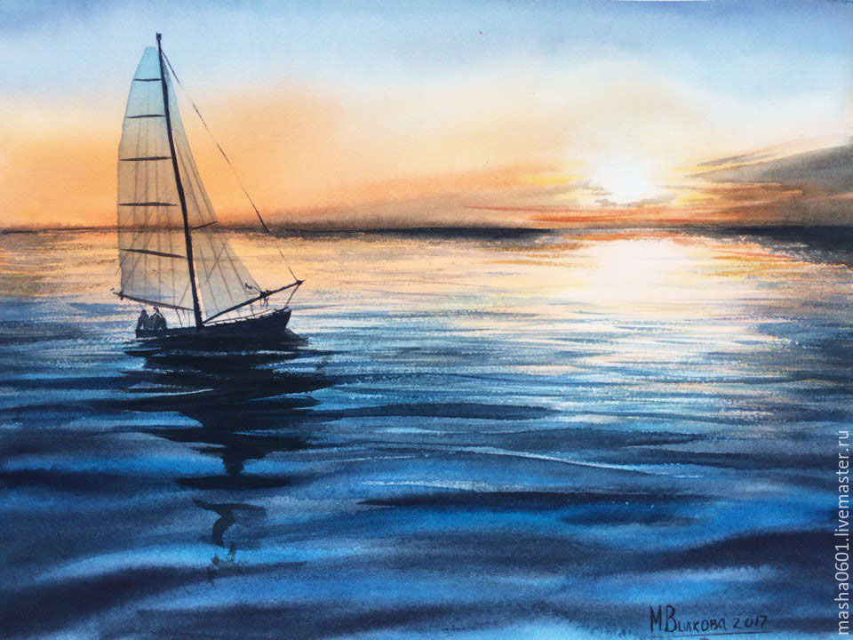 Морской закат с парусником, Картины, Москва, Фото №1