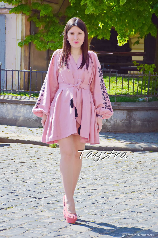 Pink dress robe, short dress embroidered on linen, Dresses, Chernovtsy,  Фото №1