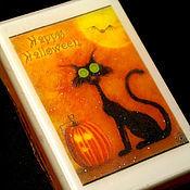 Подарки к праздникам ручной работы. Ярмарка Мастеров - ручная работа Светящееся мыло Хеллоуин Кошка в коробочке. Happy Halloween!. Handmade.