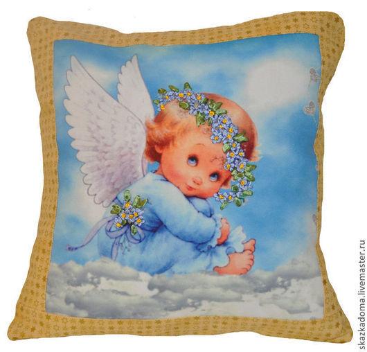 """Текстиль, ковры ручной работы. Ярмарка Мастеров - ручная работа. Купить Подушка с вышивкой лентами  по принту  """"Небесный ангел"""". Handmade."""
