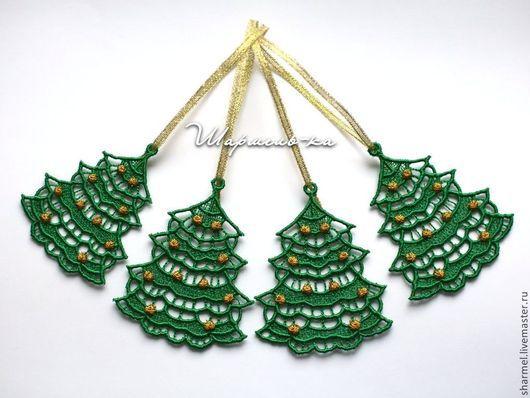 Вышитые  новогодние сувениры украшения-подвески  `Елочка`. Полезные вещицы от Шармель-ки.