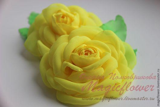 Броши ручной работы. Ярмарка Мастеров - ручная работа. Купить Брошь  Желтая роза. Цветы из ткани. Handmade. Желтый