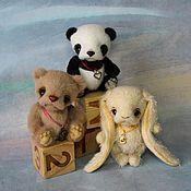 Куклы и игрушки ручной работы. Ярмарка Мастеров - ручная работа Панда, мишка, зайка (10 см). Handmade.