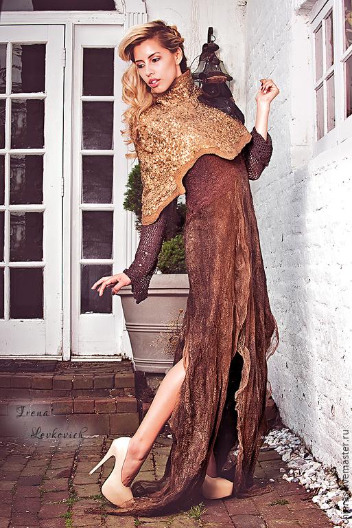 """Платья ручной работы. Ярмарка Мастеров - ручная работа. Купить Авторская накидка и платье из шелка и шерсти """"Хозяйка медной горы"""". Handmade."""