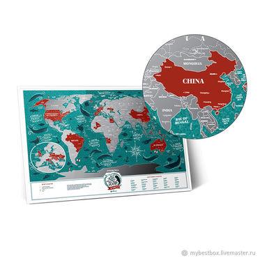 Diseño y publicidad manualidades. Livemaster - hecho a mano Mapa De Travel Map Marine World. Handmade.