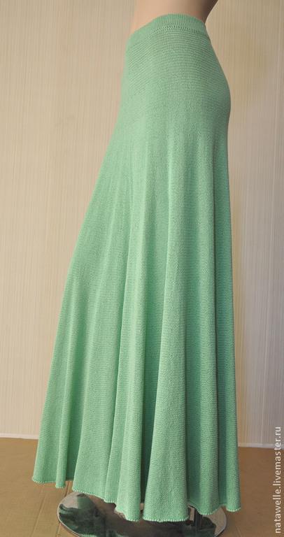 Юбки ручной работы. Ярмарка Мастеров - ручная работа. Купить вязаная св зеленая юбка солнце из хлопка с вискозой длинная. Handmade.