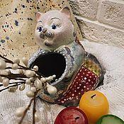 Для дома и интерьера ручной работы. Ярмарка Мастеров - ручная работа Кот-кашпо (керамика). Handmade.
