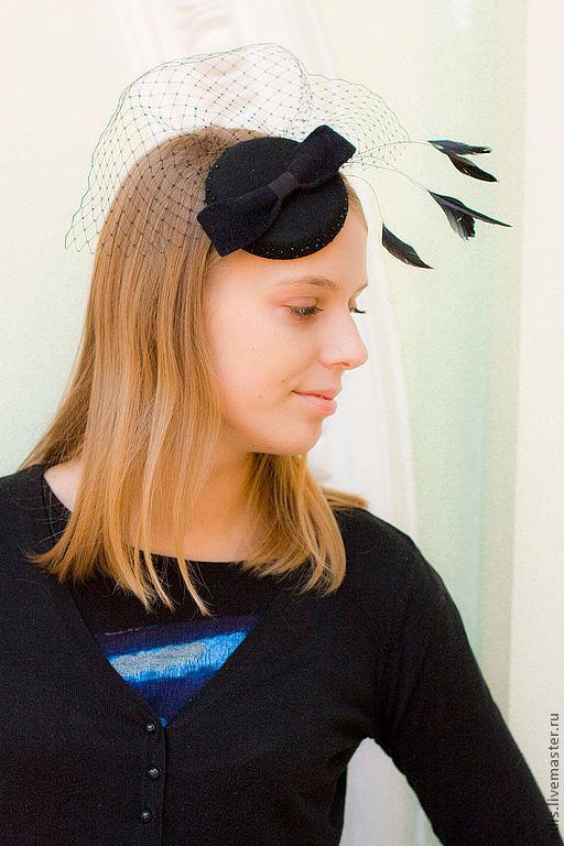 Шляпы ручной работы. Ярмарка Мастеров - ручная работа. Купить Коктейльная шляпка. Handmade. Черный, шляпка вечерняя