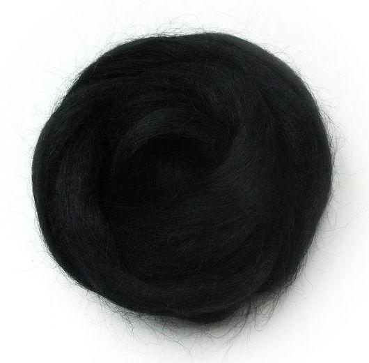 Валяние ручной работы. Ярмарка Мастеров - ручная работа. Купить Шерсть Wensleydale окрашенная - цвет Черный. Handmade. Черный