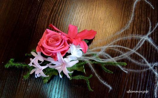 Свадебные украшения ручной работы. Ярмарка Мастеров - ручная работа. Купить Цветочная заколка.. Handmade. Фуксия, цветочная заколка