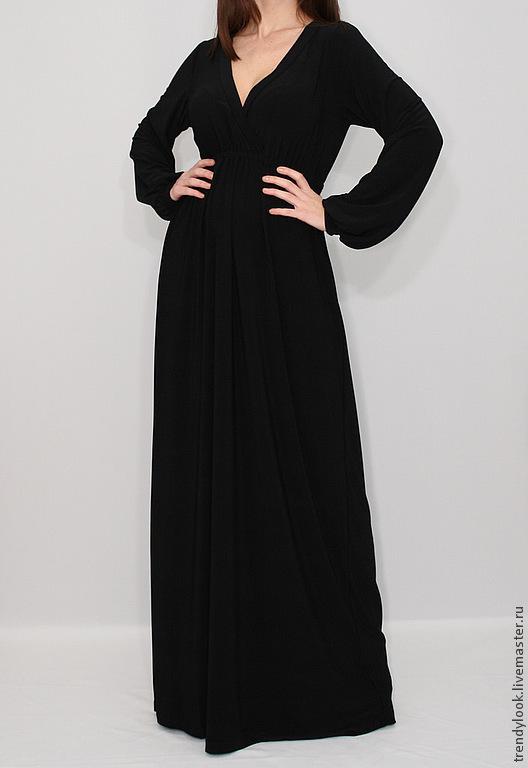 Платья ручной работы. Ярмарка Мастеров - ручная работа. Купить Длинное Платье в пол Черное платье с длинным рукавом. Handmade.
