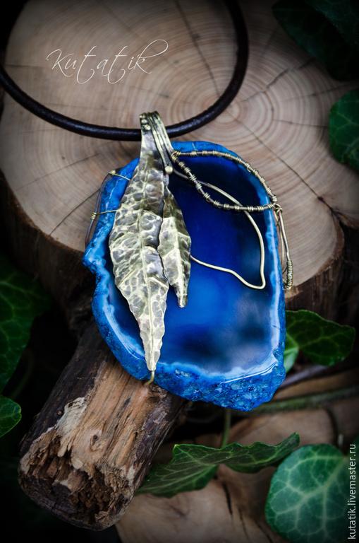 """Кулоны, подвески ручной работы. Ярмарка Мастеров - ручная работа. Купить Кулон """"Цветение агата"""". Handmade. Тёмно-синий, синий"""