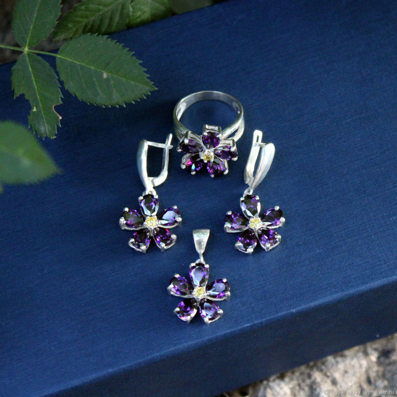 Earrings, ring and forget-me-not pendant made of 925 sterling silver and zircons, Jewelry Sets, Yerevan,  Фото №1
