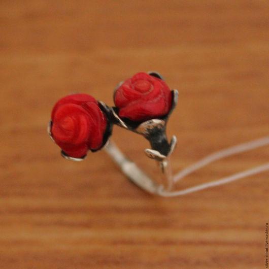 Кольца ручной работы. Ярмарка Мастеров - ручная работа. Купить Серебряное кольцо Розарий, серебро 925. Handmade. Ярко-красный