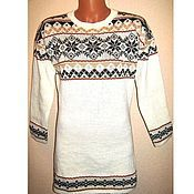 Одежда handmade. Livemaster - original item Knitted tunic with a Norwegian ornament snowflake. Handmade.
