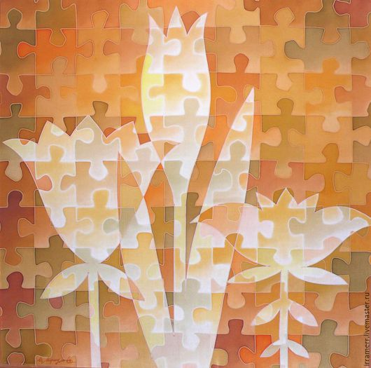"""Картины цветов ручной работы. Ярмарка Мастеров - ручная работа. Купить Панно """"Цветы"""". Handmade. Оранжевый, Батик, авторская работа"""